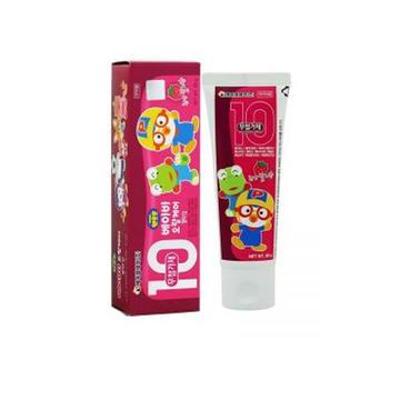韩国 Pororo 宝露露 无氟添加幼儿牙膏 天然草莓香味 80g