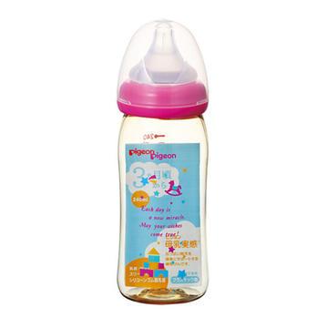 日本 Pigeon 贝亲 母乳实感宽口 PPSU奶瓶 粉色玩具款 240ml